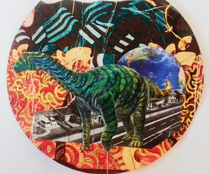 city, dinossaur, and Collage image