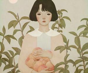 art, peach, and girl image