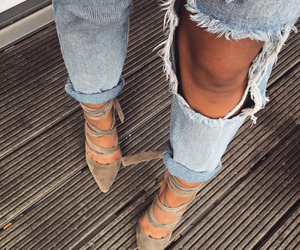 heels, denim, and fashion image