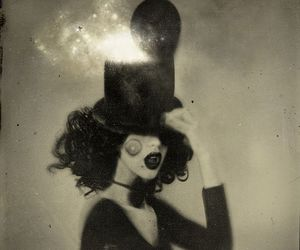 black and white, circus, and magic image