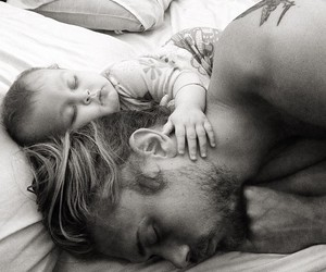 baby, bed, and father image