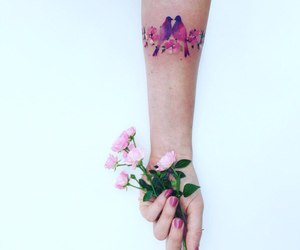 tattoo, birds, and flowers image