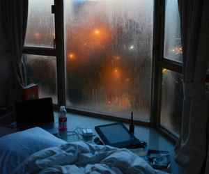 rain, bed, and window image
