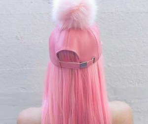 pink, hair, and cap image