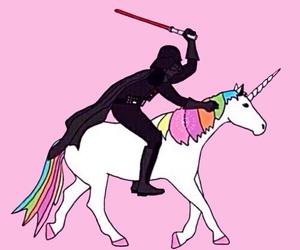 unicorn, star wars, and pink image