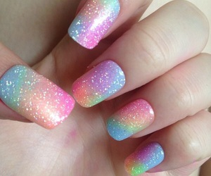 nails, rainbow, and glitter image