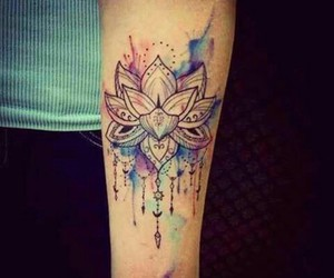 arm tattoo, water color, and lotus flower image