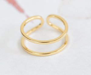 thumb ring, gold rings, and cross ring image
