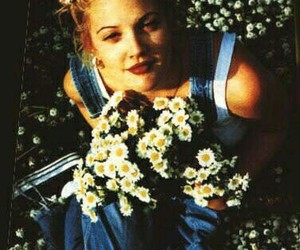 drew barrymore, flowers, and 90s image