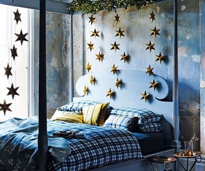 bedroom, blue, and stars image