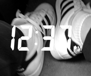 adidas, black and white, and blur image