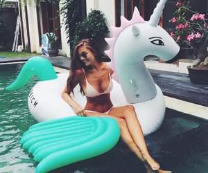 girl, unicorn, and summer image