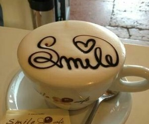 smile, coffee, and food image