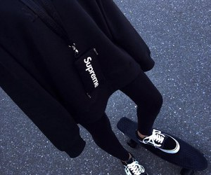 black, vans, and supreme image