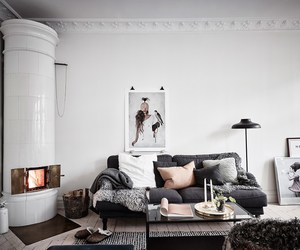 cozy, interior, and fireplace image