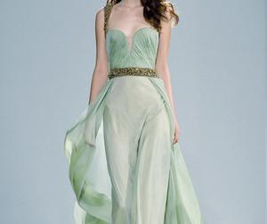 beautiful dress, fashion, and green dress image