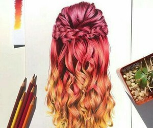 hair, art, and orange image