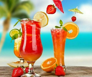 beach, cocktail, and refreshing image
