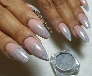 chrome, holographic, and nails image