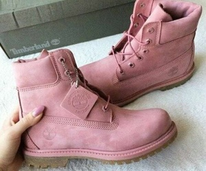 winter fashion, rose pink, and timbs image