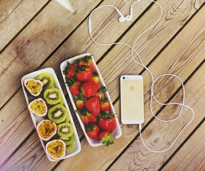 iphone, fruit, and strawberry image