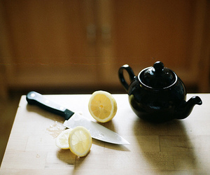 knife, tea, and kitchen image