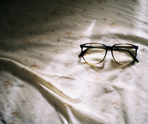 glasses, bed, and vintage image