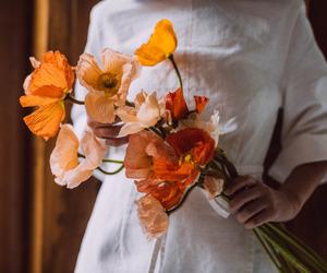 flowers, orange, and vintage image