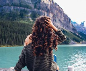 hair, mountains, and nature image