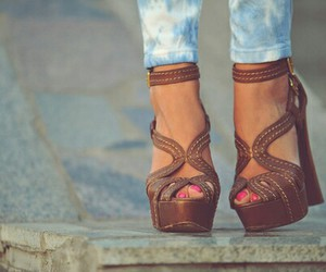 brown, high heels, and style image