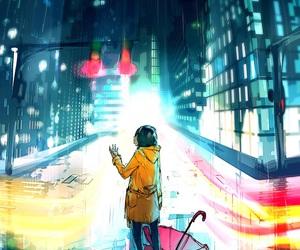 rain, city, and art image