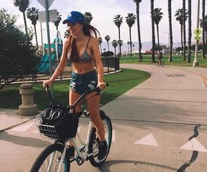 girl, beach, and bike image