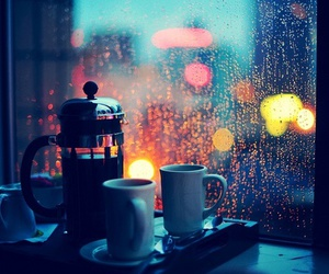 rain, coffee, and light image