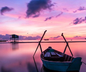 sea, boat, and pink image