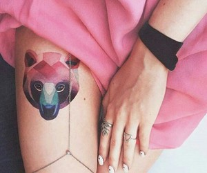 tattoo, pink, and bear image