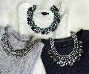 fashion, sweater, and necklace image