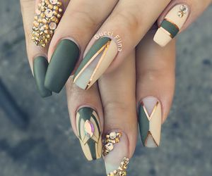 nails, gold, and green image