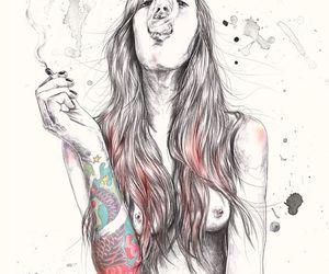 girl, smoke, and tattoo image