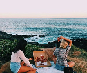 friends, pizza, and beach image