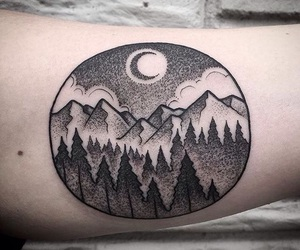 black, ink, and moon image