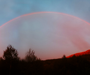 sky, rainbow, and red image