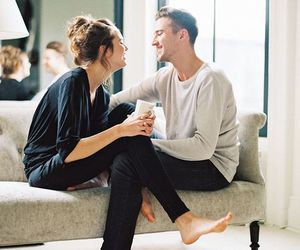 couple, fun, and house image