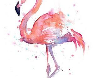 flamingo, art, and pink image