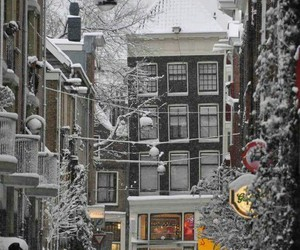 winter, snow, and amsterdam image