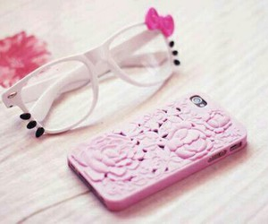 pink, hello kitty, and glasses image