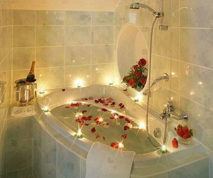 romantic, rose, and bath image
