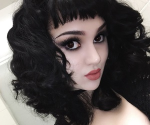 black hair, edgy, and goth image