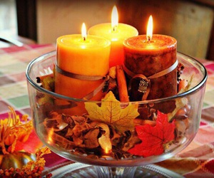 candle, autumn, and leaves image