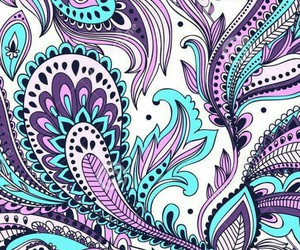 blue, paisley, and pattern image