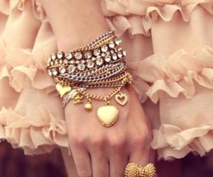 bracelets, gold, and dress image